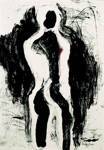 Heartstrings (monoprint, 40 x 28 cms). Series: Figurative. Category: figurative